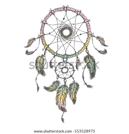 Dream catcher isolated on white background, hand drawn  illustration