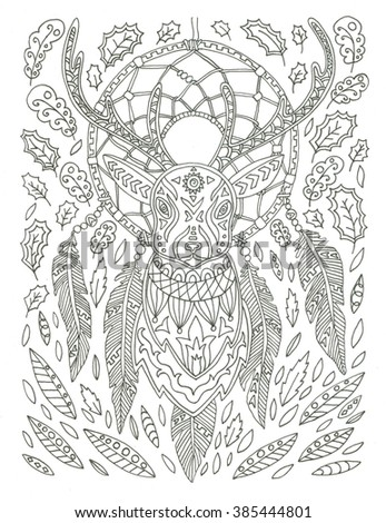 Dream Catcher With Deer Coloring Page