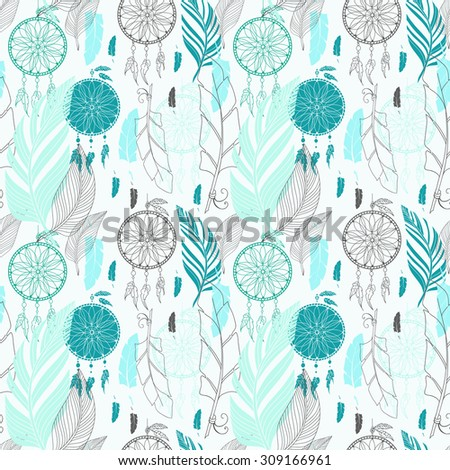 Dream catcher with feathers, high detailed ritual symbol. Hand drawn illustration for tattoos or t-shirt design, Seamless pattern - stock photo