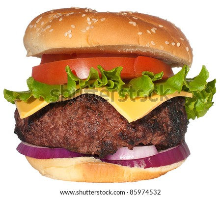Dream cheeseburger isolated on white - stock photo