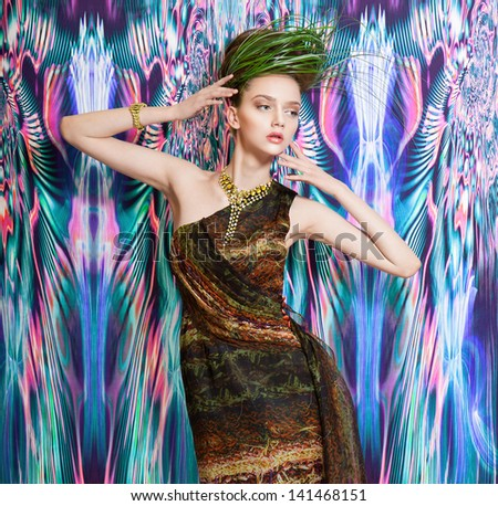 Dream color wild fashion women stay on seamless pattern background - stock photo