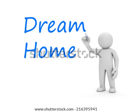 dream home and man 3d - stock photo