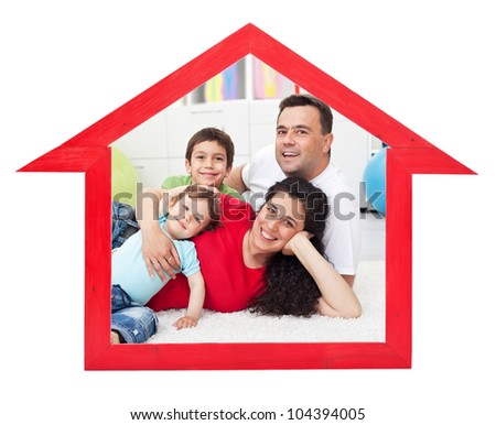 Dream home concept with family inside house contour sign - isolated - stock photo