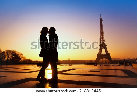 dream honeymoon in Paris, romantic couple silhouette