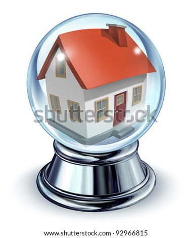 Dream house in a crystal ball transparent glass sphere and a chrome metal base on a white for housing and real estate home predictions in interest rates and mortgage finances for a residence. - stock photo