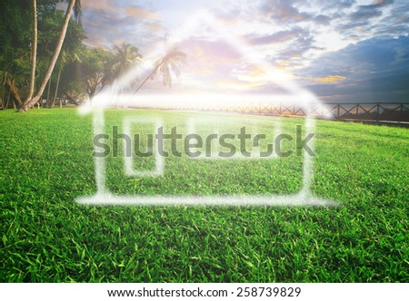 dream house on beautiful land scape use for real estate , land development and future family home - stock photo