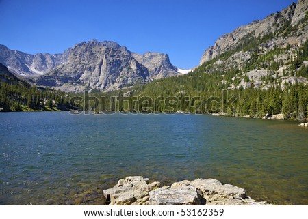 Dream Lake and Hallet Peak, Rocky Mountain National Park, Estes Park, Colorado, USA - stock photo