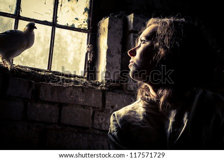 Dream of freedom in a prison psychiatric - stock photo