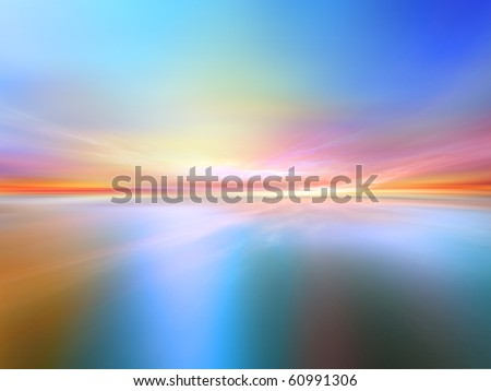 Dream-scape on the subject of light, space, fantasy and alien worlds. - stock photo