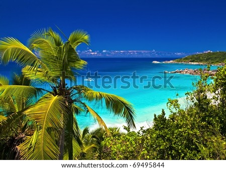 Dream seascape view, Seychelles, La Digue island - stock photo