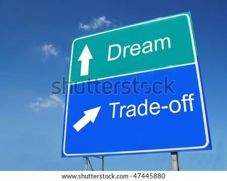 DREAM-TRADEOFF road sign - stock photo