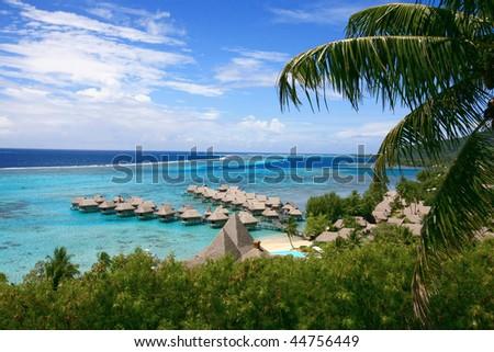 dream turquoise blue lagoon in Tahiti - stock photo