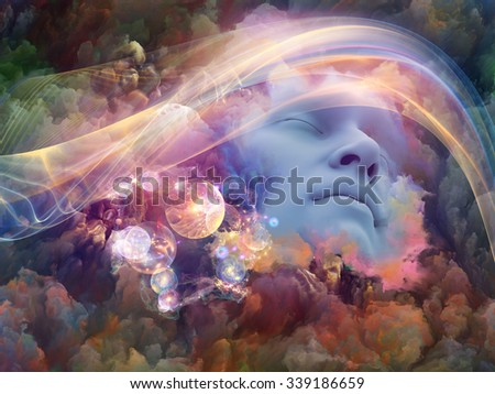 Dream Wave series. Interplay of human face and colorful fractal clouds on the subject of dreams, mind, spirituality, imagination and inner world - stock photo