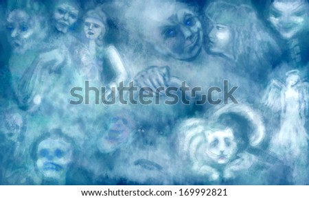 Dream with ghosts - Stock Image - stock photo