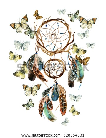 Dreamcatcher with feathers and butterflies. Watercolor ethnic dreamcatcher. Hand painted illustration for your design - stock photo