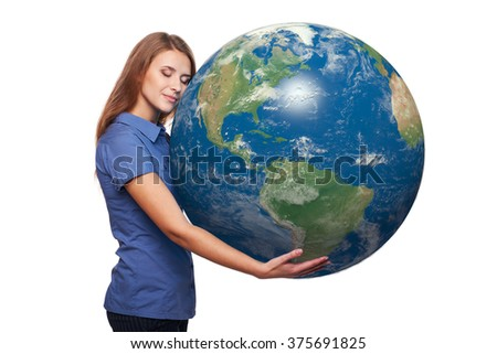 Dreaming beautiful woman holding earth globe in her hands with closed eyes, American continent in front, over white background