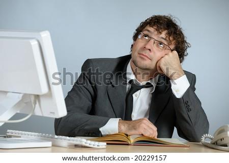 Dreaming businessman - stock photo