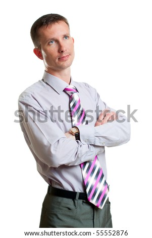 dreaming businessman portrait over white - stock photo