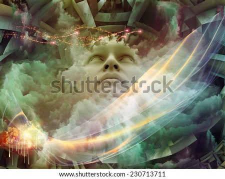 Dreaming Intellect series. Abstract composition of human face and technological elements suitable as element in projects related to mind, reason, intelligence and imagination