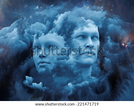 Dreaming Intellect series. Backdrop composed of human face and technological elements and suitable for use in the projects on mind, reason, intelligence and imagination - stock photo
