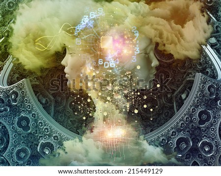Dreaming Intellect series. Design composed of human face and technological elements as a metaphor on the subject of mind, reason, intelligence and imagination - stock photo