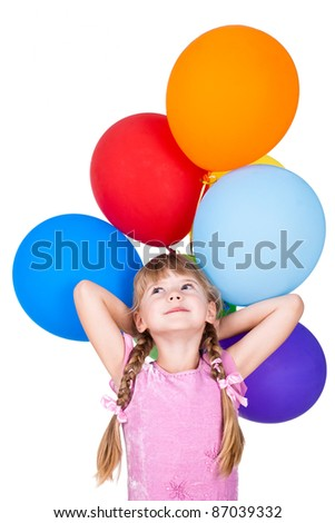 dreaming little girl holding balloons bunch isolated on white background - stock photo