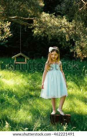 Dreaming little girl in blue fairy costume of princess outdoor