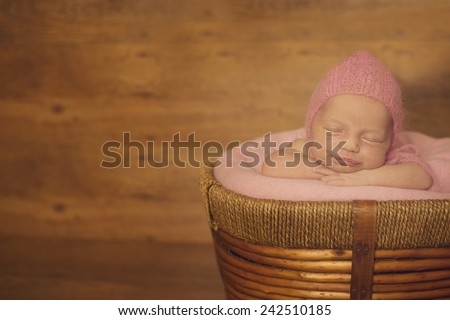 Dreaming Naked Newborn Baby Lying on Hands - stock photo