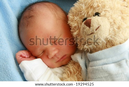 dreaming newborn baby - 3 days old baby sleeping - stock photo