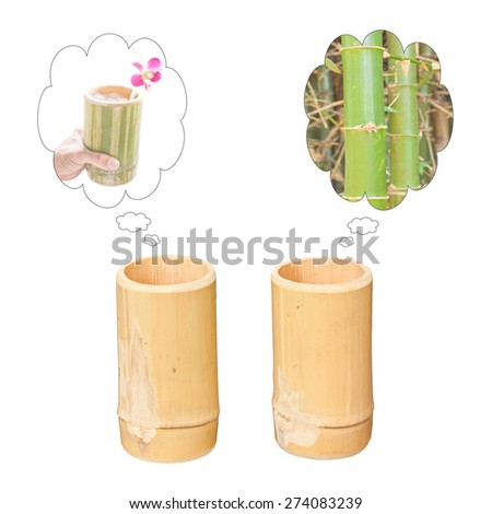 Dreaming of two bamboo cups isolated on white background - stock photo