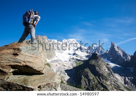 Dreaming the next climbing; Mont Blanc, italian side, Courmayeur, Italy. - stock photo