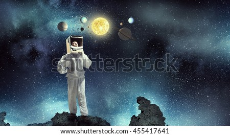Dreaming to explore space . Mixed media - stock photo