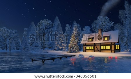 Dreamlike winter scenery. Illuminated rustic house with smoking chimney and decorated Christmas tree on the shore of a frozen lake under starry night sky. Decorative 3D illustration. - stock photo
