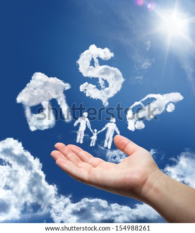 dreams in the sky: car,home,money and family - stock photo