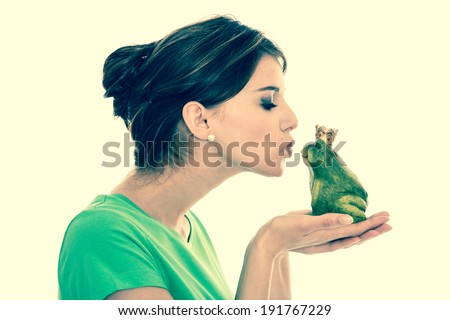 Dreams of a boyfriend: fairy tale of frog king. Young girl in love. - stock photo
