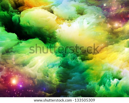 Dreamscape Series. Interplay of colorful fractal paint and lights on the subject of art, abstraction and creativity - stock photo