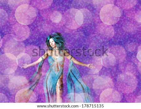 Dreamy background with 3d woman, colorful bokeh effect.
