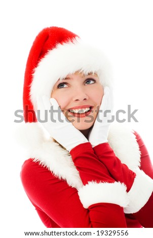 dreamy beautiful girl dressed as Santa - stock photo