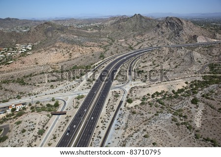 Dreamy Draw and State Route 51 in Phoenix from above - stock photo