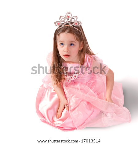 Dreamy five - year - old girlie as princess - stock photo
