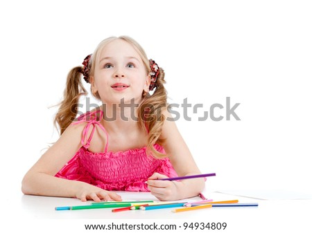dreamy girl with pencils isolated on white background - stock photo