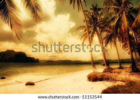 dreamy island -artistic tone picture - stock photo
