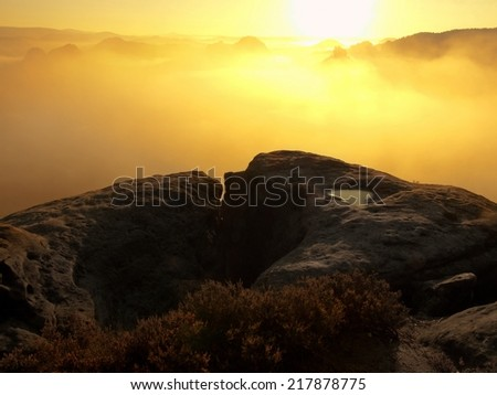 Dreamy misty landscape. Majestic mountain cut the lighting mist. Deep valley is full of colorful fog and rocky hills are sticking up to Sun. Magnificent autumn morning.  - stock photo