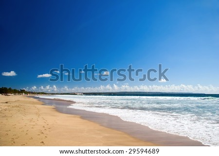 Dreamy red sand tropical beach. Phuket island. Andaman sea. Kingdom Thailand - stock photo