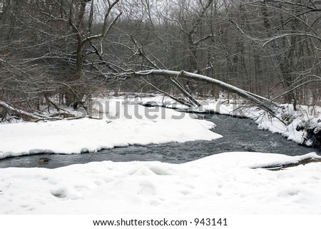 Dreary, gray Minnesota winter day in the Mississippi River basin in Minneapolis - stock photo