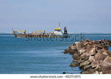 Dredging at the new Maasvlakte 2 project NL - stock photo