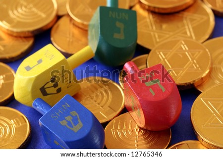 Dreidels and Gelt - stock photo
