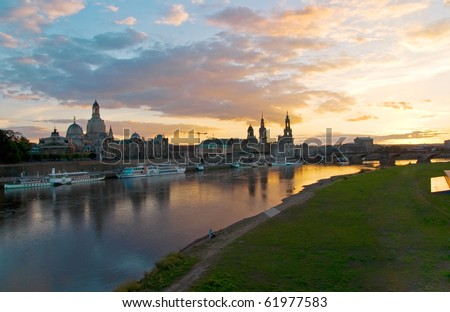 dresden altstadt skyline at sunset