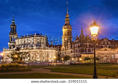Dresden castle or Royal Palace by night, Saxony, Germany - stock photo