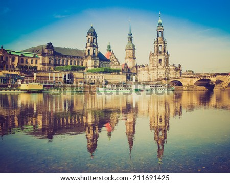 Dresden Cathedral of the Holy Trinity aka Hofkirche Kathedrale Sanctissimae Trinitatis in Dresden Germany seen from the Elbe river